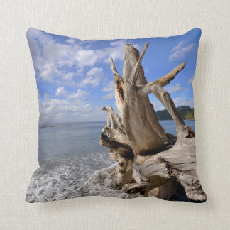 Driftwood On The Shoreline Of French Beach Cushion