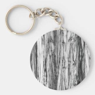 Driftwood pattern - black, white and grey basic round button key ring