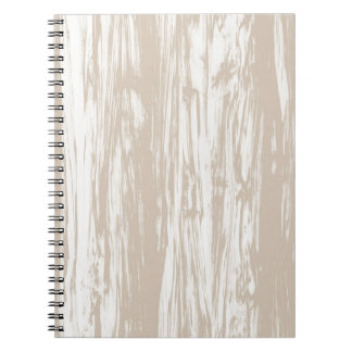Driftwood pattern - taupe tan and white spiral notebooks