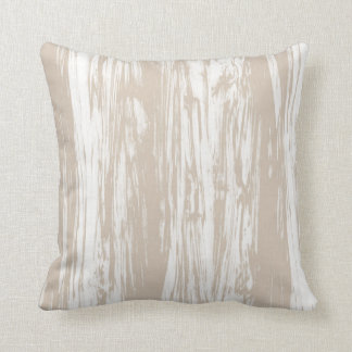 Driftwood pattern - taupe tan and white throw cushion