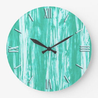 Driftwood pattern - turquoise and white large clock