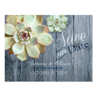 Driftwood Succulent Cactus Wedding Save the Date Postcard