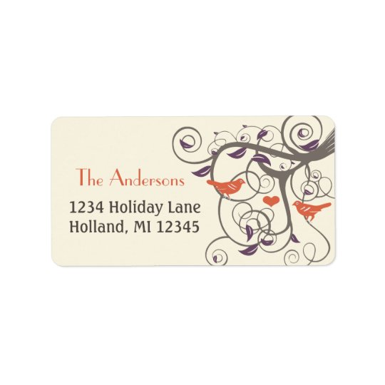 Driftwood Tree Orange Love Bird Return Address Address Label