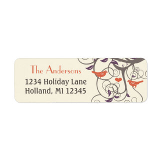 Driftwood Tree Orange Lovebird Return Address Return Address Label
