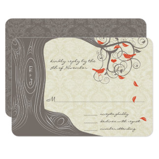 Driftwood Tree Swirl Love Birds Wedding Invitation
