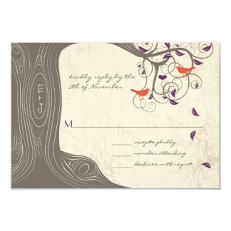 Driftwood Tree Swirl Love Birds Wedding RSVP Card