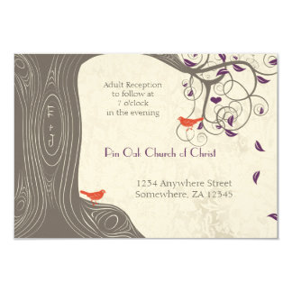 Driftwood Tree Tangerine Birds Purple Leaf Wedding Card