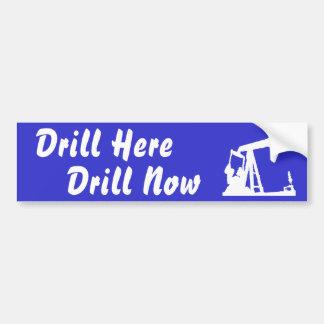Drill Here Drill Now Bumper Sticker - Blue Car Bumper Sticker