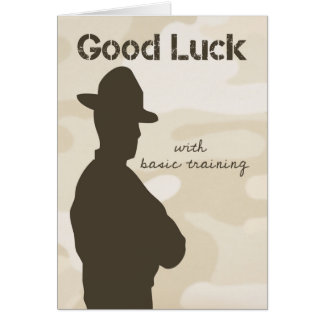 Drill Sergeant Silhouette w/ Camouflage Good Luck Card