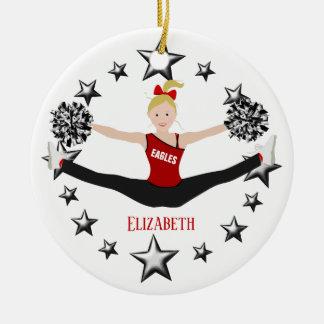 Drill Team Blonde Red And Black Ceramic Ornament