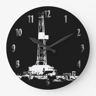 Drilling Rig Silhouette Clock (with Numbers)