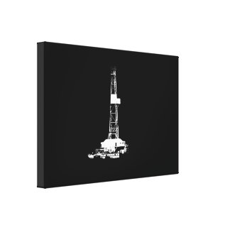 Drilling Rig Silhouette White on Black Canvas Print