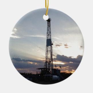 Drilling Rig Sunset Round Ceramic Decoration