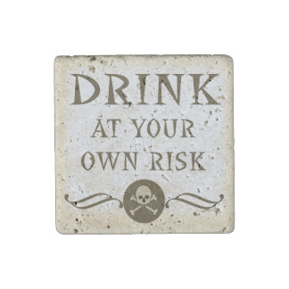 Drink At Your Own Risk Halloween Haunted House Stone Magnet