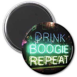 Drink, Boogie, Repeat! 6 Cm Round Magnet