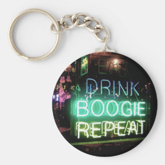 Drink, Boogie, Repeat! Basic Round Button Key Ring