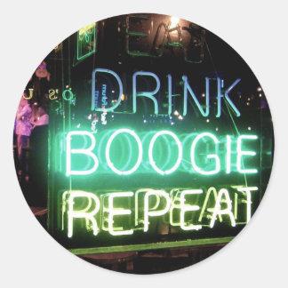 Drink, Boogie, Repeat! Round Sticker
