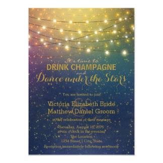 Drink Champagne Dance Under The Stars Wedding Card