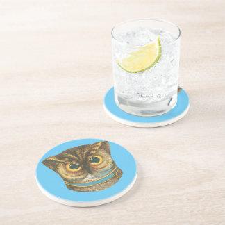 Drink coaster Owl vintage illustration