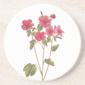 Drink Coaster with a flower vintage illustration