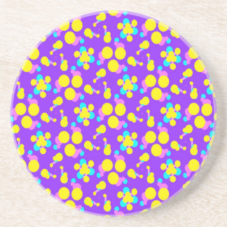 Drink Coasters with Fun Purple Yellow Design
