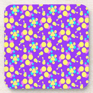 Drink Coasters with Fun Purple Yellow Design