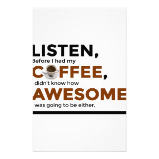 Drink Coffee Be Awesome Stationery
