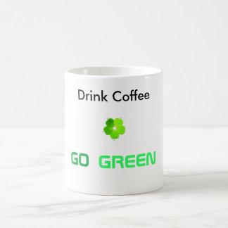Drink Coffee Go Green Basic White Mug