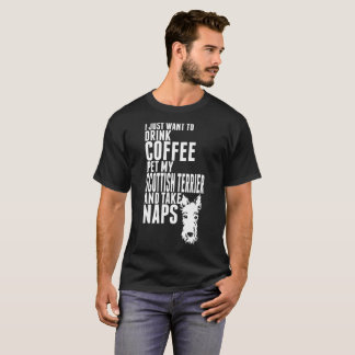 Drink Coffee Pet Scottish Terrier Tshirt