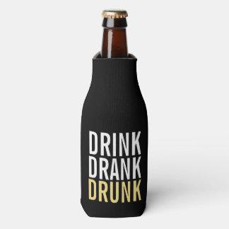 Drink Drank drunk   Black and Gold Chic Bottle Cooler