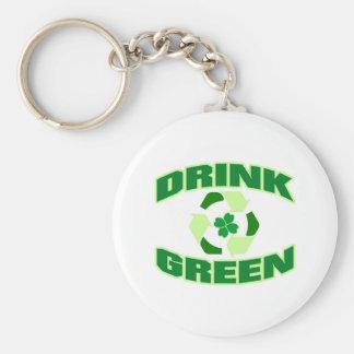 Drink Green Clover Keychain