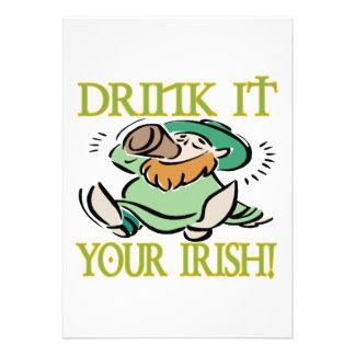 Drink It Your Irish Custom Announcements
