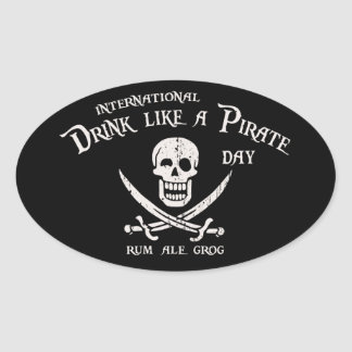 Drink Like a Pirate Oval Sticker