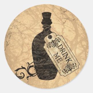 Drink Me Bottle Round Sticker