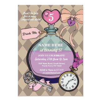 Drink Me Invitation Alice In Wonderland Birthday
