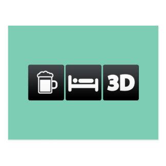 Drink, Sleep and 3d Technology Postcard