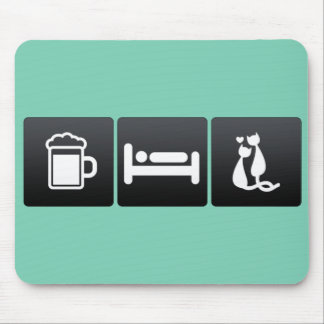 Drink, Sleep and Cat Mating Mouse Pad