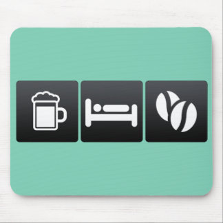 Drink, Sleep and Coffee Beans Mouse Pad