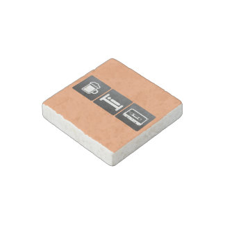 Drink, Sleep and Compact Cassettes Stone Magnet