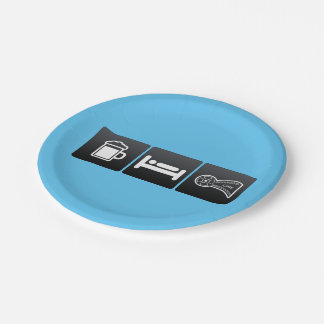 Drink, Sleep and Film Rolls 7 Inch Paper Plate