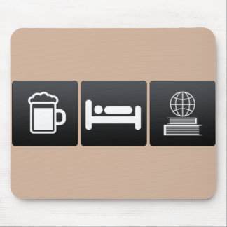 Drink, Sleep and Geography Books Mouse Pad