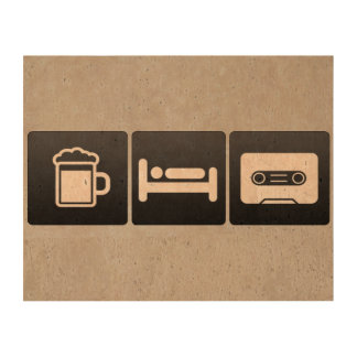 Drink, Sleep and Playing Cassettes Cork Paper Prints