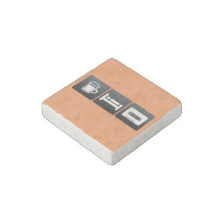 Drink, Sleep and Playing Cassettes Stone Magnet
