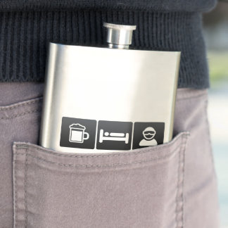 Drink, Sleep and Snow Boarding Hip Flask