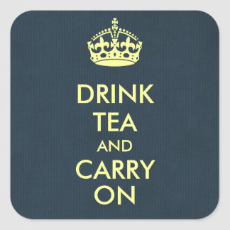 Drink Tea and Carry On Blue Natural Kraft Paper Square Sticker