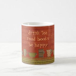 Drink Tea Read Books Happy Rusty Red Stripes Mug