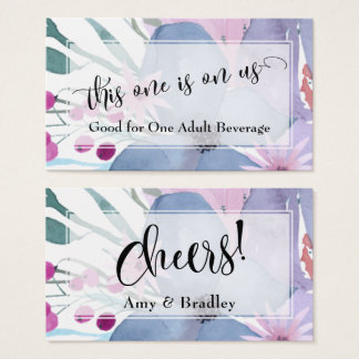Drink Tickets | Abstract Watercolor Flower Bouquet