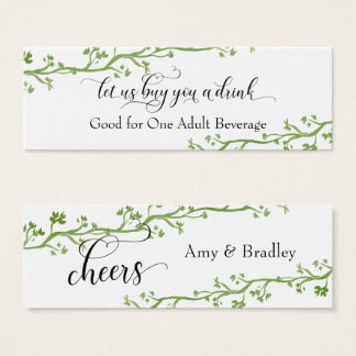 Drink Tickets | Angled Watercolor Greenery Vines