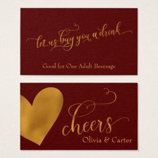 Drink Tickets, Elegant Gold Script & Heart Business Card
