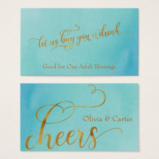 Drink Tickets, Elegant Gold Script w/ Watercolor Business Card